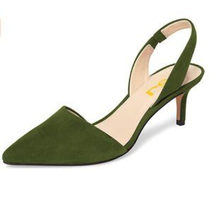 FSJ Olive Green Kitten Heel Slingback Pump